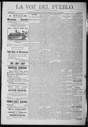 La Voz Del Pueblo Gazetesi 13 Haziran 1891 kapağı