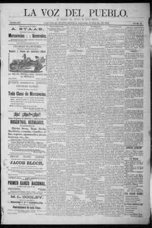 La Voz Del Pueblo Gazetesi 20 Haziran 1891 kapağı