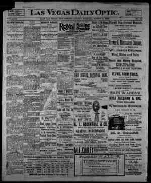 Las Vegas Daily Optic Gazetesi 6 Mart 1896 kapağı