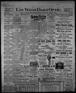 Las Vegas Daily Optic Gazetesi 7 Mart 1896 kapağı
