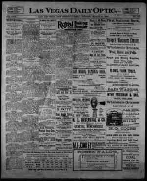 Las Vegas Daily Optic Gazetesi 10 Mart 1896 kapağı
