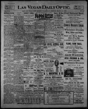 Las Vegas Daily Optic Gazetesi 11 Mart 1896 kapağı