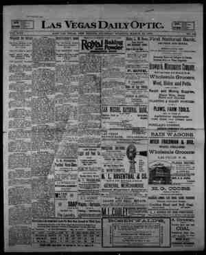 Las Vegas Daily Optic Gazetesi 12 Mart 1896 kapağı
