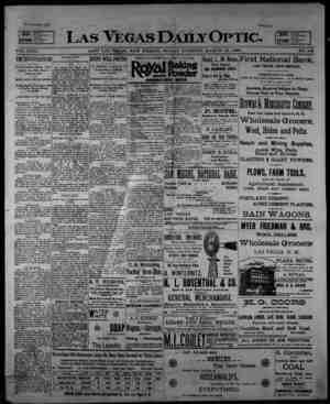 Las Vegas Daily Optic Gazetesi 13 Mart 1896 kapağı