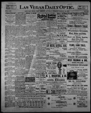 Las Vegas Daily Optic Gazetesi 14 Mart 1896 kapağı