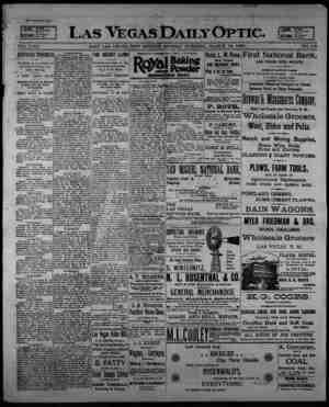 Las Vegas Daily Optic Gazetesi 16 Mart 1896 kapağı