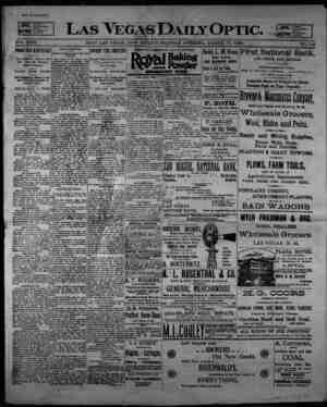 Las Vegas Daily Optic Gazetesi 17 Mart 1896 kapağı