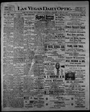 Las Vegas Daily Optic Gazetesi 18 Mart 1896 kapağı