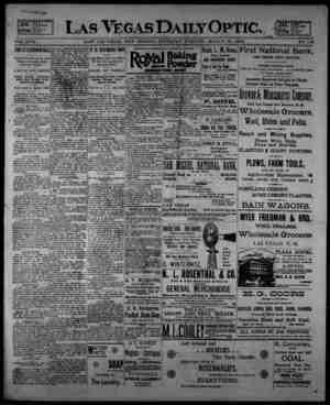 Las Vegas Daily Optic Gazetesi 19 Mart 1896 kapağı