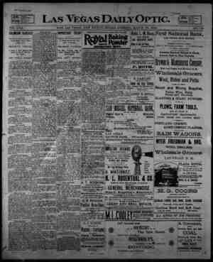 Las Vegas Daily Optic Gazetesi 20 Mart 1896 kapağı