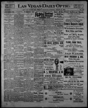 Las Vegas Daily Optic Gazetesi 21 Mart 1896 kapağı