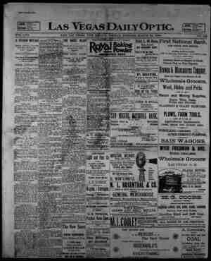 Las Vegas Daily Optic Gazetesi 24 Mart 1896 kapağı