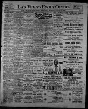 Las Vegas Daily Optic Gazetesi 25 Mart 1896 kapağı