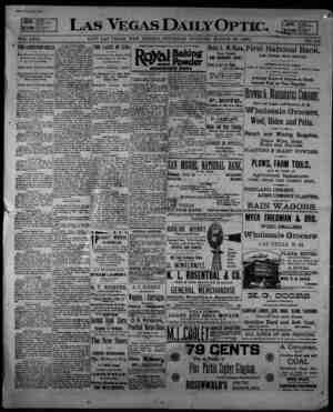 Las Vegas Daily Optic Gazetesi 26 Mart 1896 kapağı