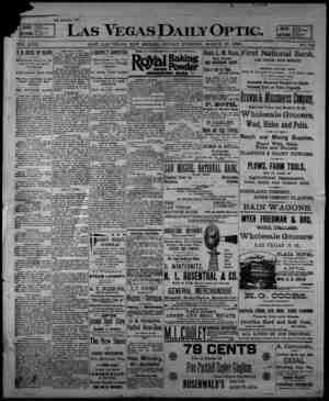 Las Vegas Daily Optic Gazetesi 27 Mart 1896 kapağı