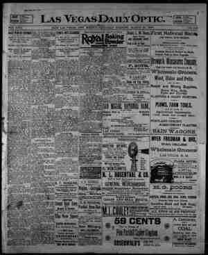 Las Vegas Daily Optic Gazetesi 28 Mart 1896 kapağı