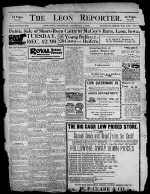 The Leon Reporter Gazetesi 7 Aralık 1899 kapağı
