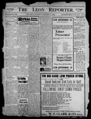The Leon Reporter Gazetesi 14 Aralık 1899 kapağı