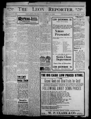 The Leon Reporter Gazetesi 21 Aralık 1899 kapağı