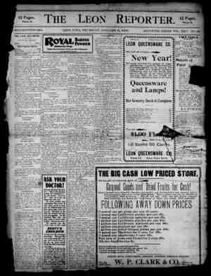 The Leon Reporter Gazetesi 11 Ocak 1900 kapağı