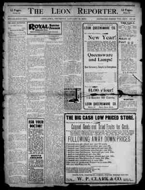 The Leon Reporter Gazetesi 18 Ocak 1900 kapağı