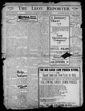 The Leon Reporter Gazetesi 25 Ocak 1900 kapağı