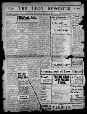 The Leon Reporter Gazetesi 15 Şubat 1900 kapağı