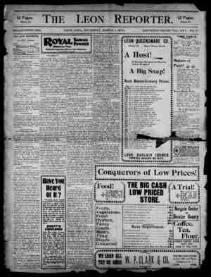 The Leon Reporter Gazetesi 1 Mart 1900 kapağı