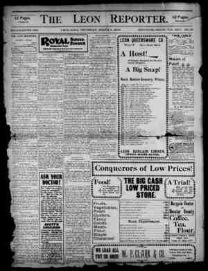 The Leon Reporter Gazetesi 8 Mart 1900 kapağı