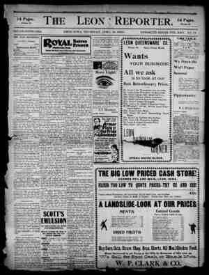 The Leon Reporter Gazetesi 19 Nisan 1900 kapağı