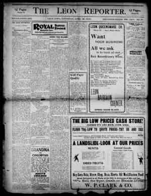 The Leon Reporter Gazetesi 26 Nisan 1900 kapağı