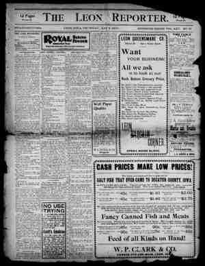 The Leon Reporter Gazetesi 3 Mayıs 1900 kapağı