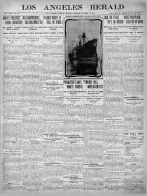 The Los Angeles Herald Gazetesi 9 Ocak 1905 kapağı