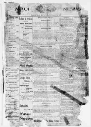 The Maui News Gazetesi 17 Şubat 1900 kapağı