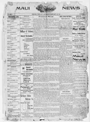 The Maui News Gazetesi 24 Şubat 1900 kapağı