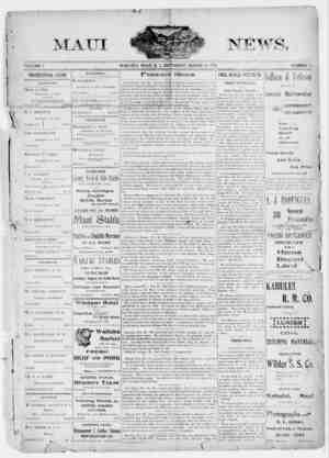 The Maui News Gazetesi 17 Mart 1900 kapağı