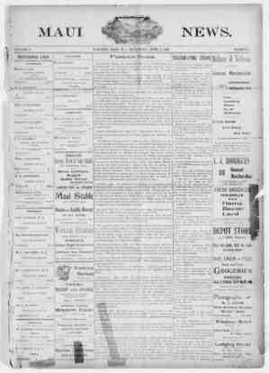 The Maui News Gazetesi 7 Nisan 1900 kapağı