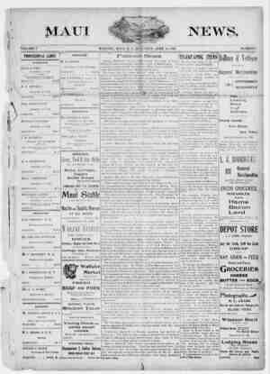 The Maui News Gazetesi 14 Nisan 1900 kapağı