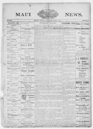 The Maui News Gazetesi 21 Nisan 1900 kapağı