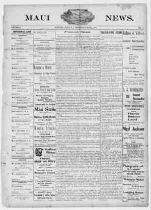 The Maui News Gazetesi 5 Mayıs 1900 kapağı