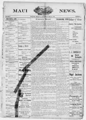 The Maui News Gazetesi 26 Mayıs 1900 kapağı