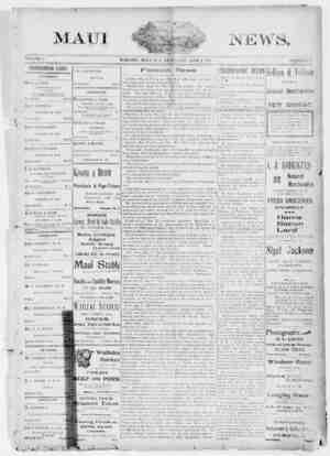 The Maui News Gazetesi 2 Haziran 1900 kapağı