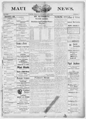 The Maui News Gazetesi 23 Haziran 1900 kapağı