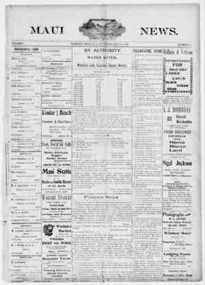 The Maui News Gazetesi 14 Temmuz 1900 kapağı