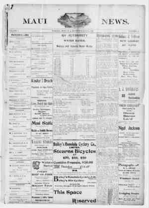 The Maui News Gazetesi 21 Temmuz 1900 kapağı
