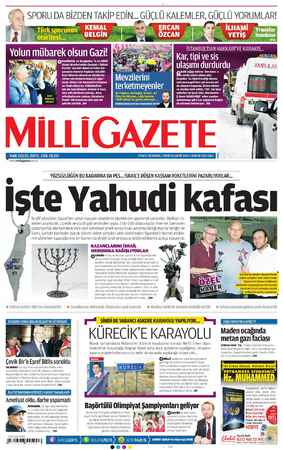 Milli Gazete Gazetesi 8 Ocak 2013 kapağı