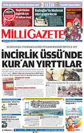 Milli Gazete Gazetesi 10 Ocak 2013 kapağı