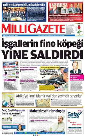 Milli Gazete Gazetesi 13 Ocak 2013 kapağı
