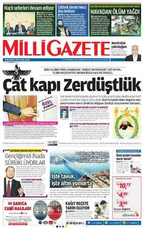 Milli Gazete Gazetesi 14 Ocak 2013 kapağı