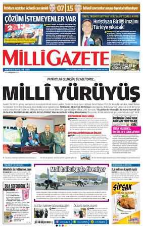 Milli Gazete Gazetesi 15 Ocak 2013 kapağı